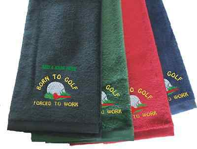 Personalised Tri Fold Velour Born to Golf Towel Christmas Birthday Gift