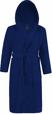 100% Cotton Terry Towelling Hooded Shawl Collar Blue Bathrobe Dressing Gown