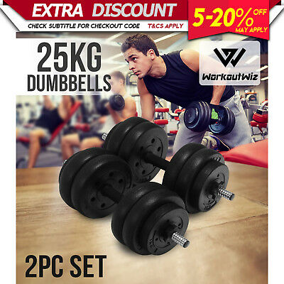 Workout Wiz Adjustable Dumbbells Set 25KG Home Gym Fitness Strength Weights