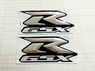 GSXR Raised 3D Chrome Silver Decal Emblem Fairing Sticker GSXR1000 750 600 Bling