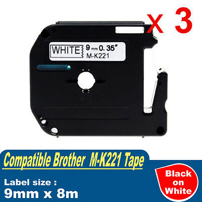 3x Compatible Brother P-touch Labels M-K221 WHITE Tape PT-80 PT-90 9mm x 8m