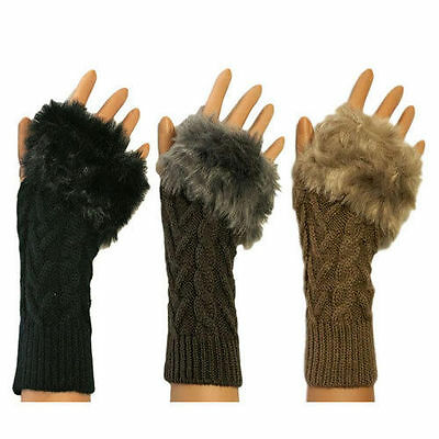 Ladies Winter Mit Faux Fur Trim Fittens fingerless mittens party outside iPhone