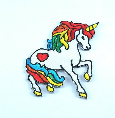 Rainbow Unicorn With Heart Pony Iron/Sew On Patch Embroidered Applique Decorate