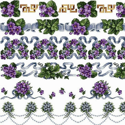 """ABC Violets Borders Machine Embroidery Designs Set in Cross Stitch 5""""x7"""" hoop"""