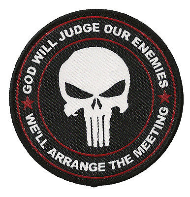 Patch écusson patche thermocollant Punisher tactical God will judge tissé