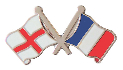 France & England Flag Friendship Courtesy Pin Badge - T952X