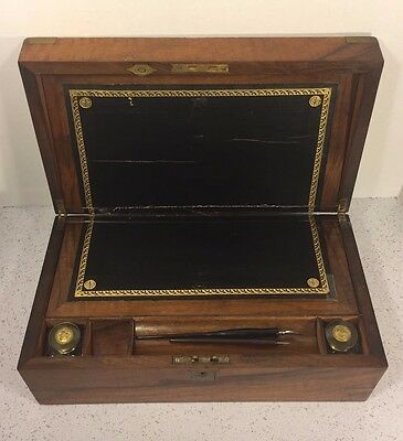 Antique Walnut Lap Desk with Brass Trim Ink Bottle and Ink Pens