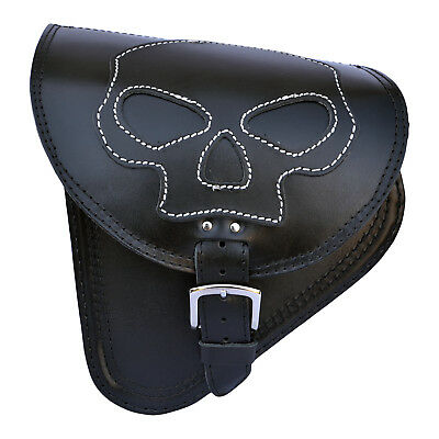 "Harley Davidson Breakout Fat Boy Black Leather Left Single Saddle Bag ""skull"""