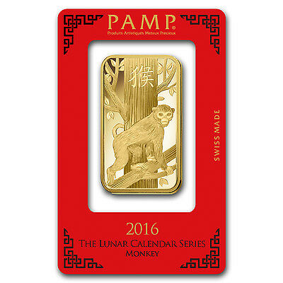 100 gram Gold Bar - Pamp Suisse Year of the Monkey (In Assay) - SKU #92811