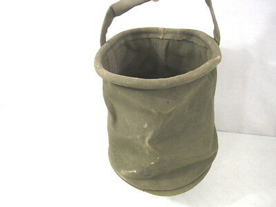 WWII Era US Army Cavalry Collapsible Folding OD Green Canvas Jeep Water Bucket
