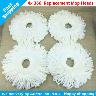 4X 360° Spin Magic Mop Refill Replacement Mop Heads (White) Pack of 4