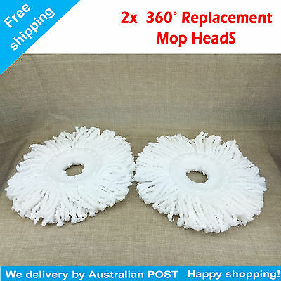 2X 360° Rotating Spin Magic Mop Refill Replacement Mop Heads (White)