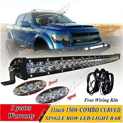 Single Row 30 inch Curved CREE LED light bar offroad 4WD boat UTE driving ATV