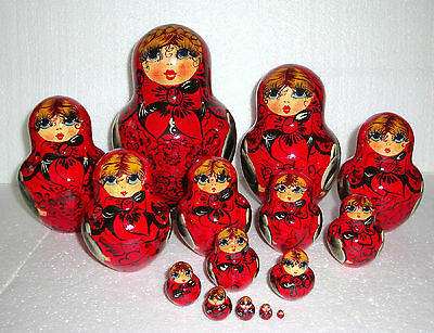 "Beautiful Russian Nesting Doll ~15pc~7.5""~GORGEOUS~RED&BLACK~MADE IN RUSSIA"