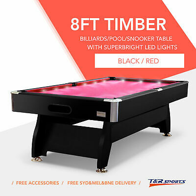 8FT Red MDF Timber Luxury Pool Snooker Billiard Table with LED Free Delivery