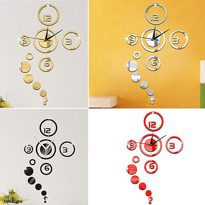 HOT Fashion 3D Modern Decoration Mirror DIY Home Living Room Wall Clock Sticker