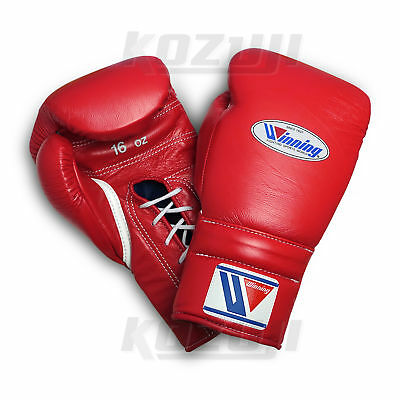Winning Pro Boxing Gloves MS-600 Red, 16oz Lace-up Design, New from Japan