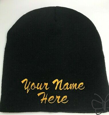 Custom Embroidery-Personalized Embroidered Name Beanie Knit Cap Cuffless  Black 35c92eb671a0