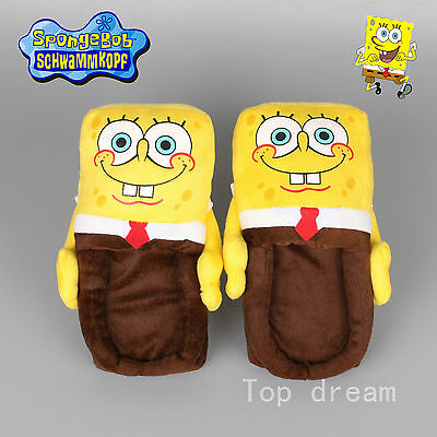 Cartoon Spongebob Squarepants Figure Soft Plush Stuffed Warm Indoor Slipper Gift