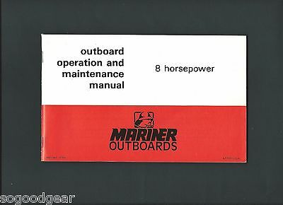 1975 Mariner Outboards Operation And Maintenance Manual 8 Horsepower