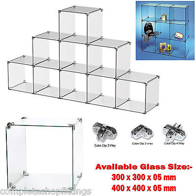 New Toughen Glass Cube Display Set Counter Top or Free standing Retail Displays
