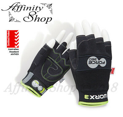 Force360 Fingerless Work Gloves WORX3 Mechanic Style Glove Tick Tower Any Size