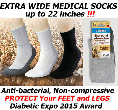 Extra Wide Medical Diabetic Socks Men's Antibacterial DEO COTTON non-compression