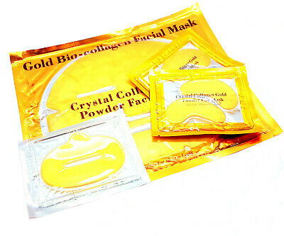 24K GOLD Collagen Bio Crystal Pamper Gift Pack Anti-Ageing Face,4XEye+LIP Mask
