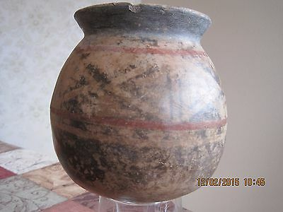 Large Antique Pre Columbian Pottery Vessel With Geometric Designs And Red Bands