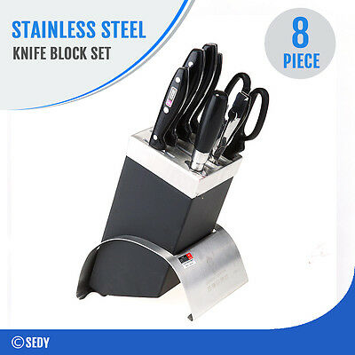 8 Piece Knife Block Set Carbon Stainless Steel Kitchen Scissors Sharpener AU NEW