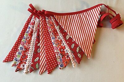 Christmas Bunting - Large Red Theme Stripy Polka Double Sided Fabric 10ft