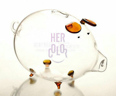 Brown Clear Glass Chubby Pig Piggy Bank Saving Money Coin Box gift for Kids
