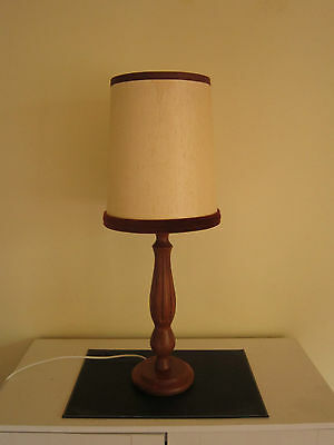 Vintage Mid Century Retro Timber Table Lamp With Beige Shade