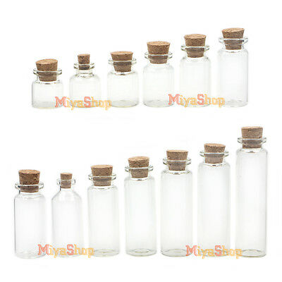 22mm Wholesale Lot Empty Clear Cork Glass Bottles Vials With Cork Borosilicate