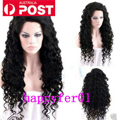 Women Long Fashion New Black Curly Costume Full Wig Hair Sexy Daily Cosplay Wigs