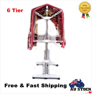 New Portable Stainless Steel Clothes Airer Rack Laundry Garment Hanger Organiser