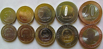 "NEW! Angola set of 5 coins 2012-2014 ""50 centimos+1+5+10+20 kwanzas"" UNC 3 coins"