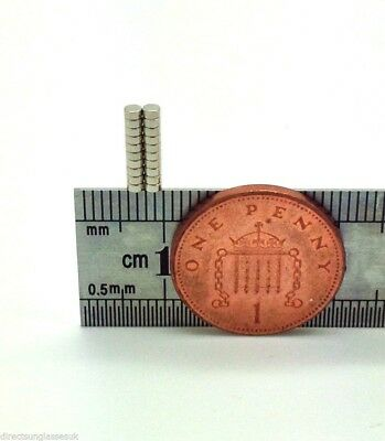 20 Very Small Tiny Super Strong Disc Magnets N52 Grade 2Mm X 1Mm From The Uk!!