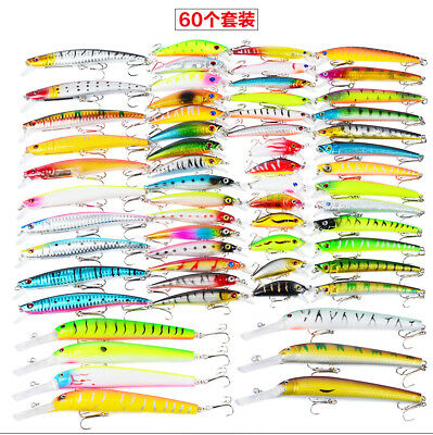 New 60pcs Lot Mixed Assorted Fishing Lures Minnow Lure Crank Bait Tackle 8 Model