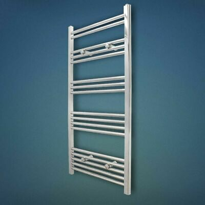 1000 x 500mm CHROME HEATED STRAIGHT TOWEL RAIL | Bathroom Radiator Rad Warmers