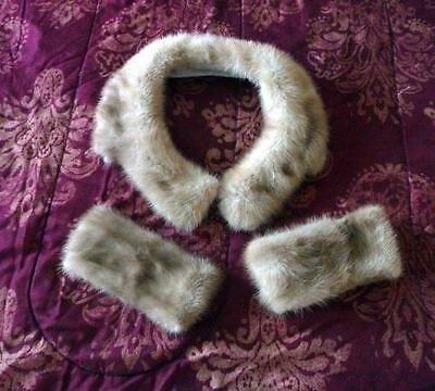 Ranch Mink Collar & 2 Mink Cuffs Champagne Color Ready-Made For Coat Jacket Suit
