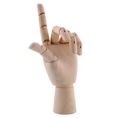 Wooden  Hand, 7 Inch,  Moveable Fingers,  Great  Display.