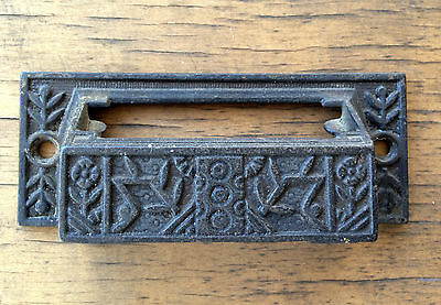 Rare Ornate Antique Cast Iron type tray handle pull w/ ID slot for drawer