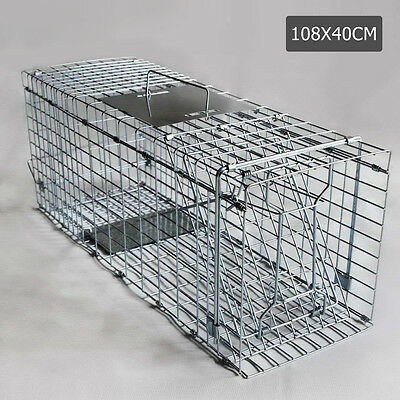 Humane Animal Trap Cage 108 x 40 x 45cm Silver Live Pest Control Trapping