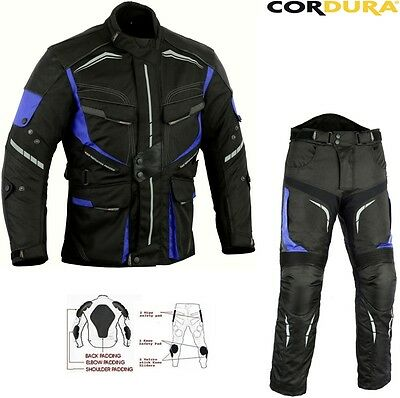 Blue Speed Max Mens Ce Armour Motorbike / Motorcycle Textile Jacket Trouser Suit