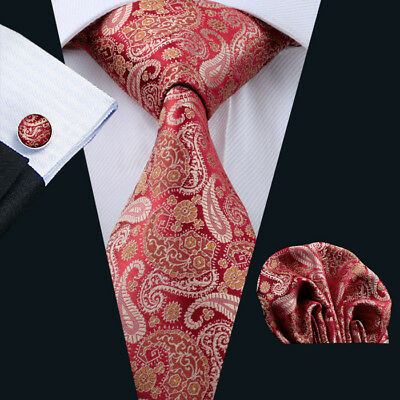 Classic Red Silk Tie Set Mens Gold Paisley Necktie Lot Jacquard Party Wedding