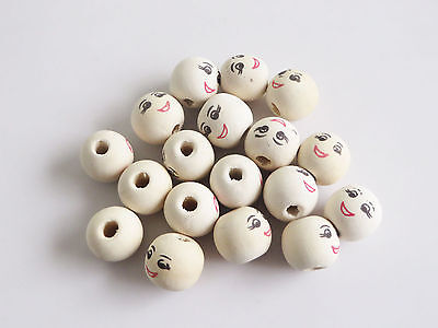 20 White Round Wooden Beads With Painted Smiley Face Design 18mm (Hole Size:4mm)