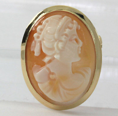 Antique cameo pendant brooch pin 18K yellow gold hand carved shell oval pretty!!