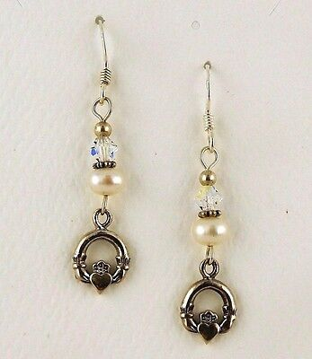 Sterling silver Irish Claddagh Earrings with Cultured pearls & Swarovski Crystal