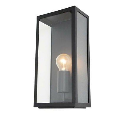 Outdoor IP44 Wall Lantern Steel Box External Garden Porch Light Black Litecraft